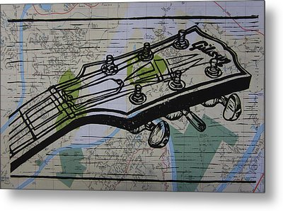 Gibson On Map Metal Print