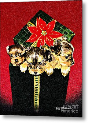 Gift Puppies Metal Print by Judy Skaltsounis