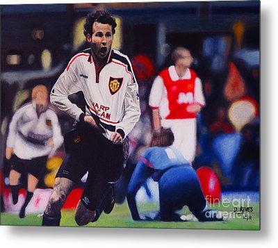 Giggs Goal V Arsenal Oil On Canvas Metal Print