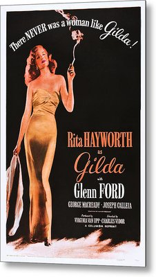 Gilda, Rita Hayworth On 1950s Poster Metal Print by Everett