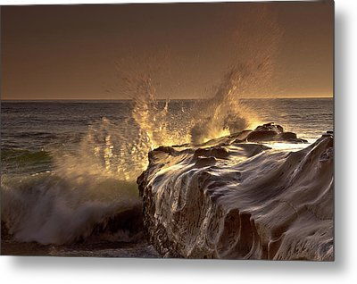 Gilded Eruption Metal Print by Ryan Weddle
