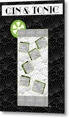 Gin And Tonic Cocktail Art Deco Swing   Metal Print by Cecely Bloom