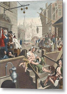 Gin Lane, Illustration From Hogarth Metal Print by William Hogarth