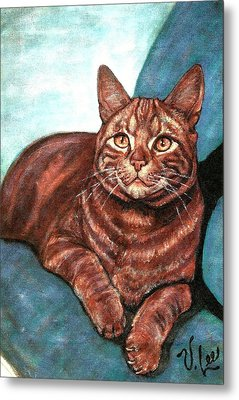 Metal Print featuring the painting Ginger Tabby by VLee Watson