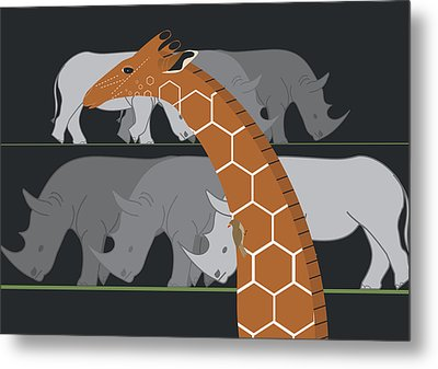 Giraffe And Rhinos Metal Print