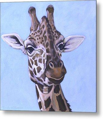 Giraffe Eye To Eye Metal Print