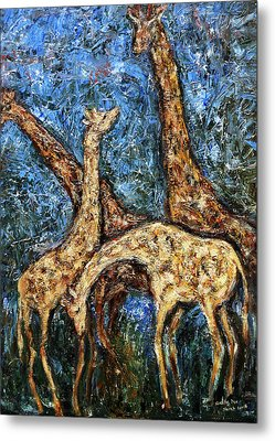 Metal Print featuring the painting Giraffe Family by Xueling Zou