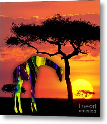 Giraffe Painting Metal Print by Marvin Blaine