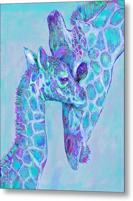 Metal Print featuring the digital art Giraffe Shades  Purple And Aqua by Jane Schnetlage