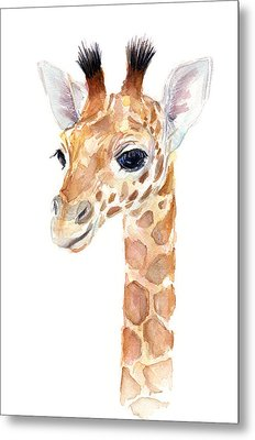 Giraffe Watercolor Metal Print by Olga Shvartsur