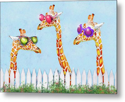 Giraffes In Sunglasses Metal Print by Jane Schnetlage