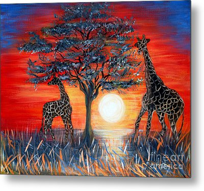 Giraffes. Inspirations Collection. Metal Print