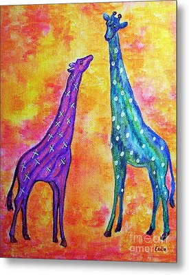 Giraffes With X's And O's Metal Print by Eloise Schneider