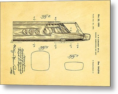 Girardy Railway Observation Car Patent Art  2 1951 Metal Print by Ian Monk
