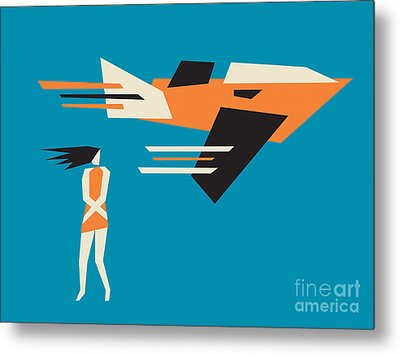 Girl And Airplane Metal Print