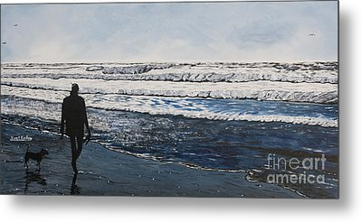 Girl And Dog Walking On The Beach Metal Print