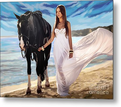 Metal Print featuring the painting Girl And Horse On Beach by Tim Gilliland
