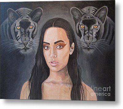 Girl And Panther Metal Print