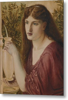 Girl At A Fountain Metal Print by Simeon Solomon