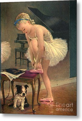 Girl Ballet Dancer Ties Her Slipper With Boston Terrier Dog Metal Print by Pierponit Bay Archives