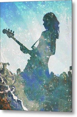 Girl Band Guitarist Metal Print by John Fish