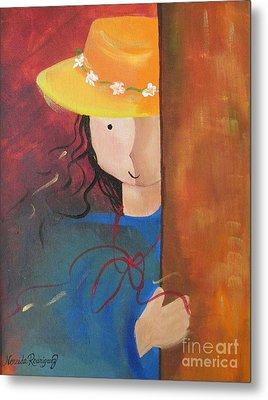 Metal Print featuring the painting Girl Behind The Door by Nereida Rodriguez
