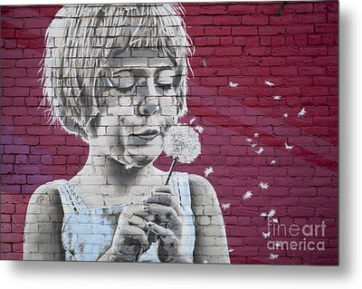 Girl Blowing A Dandelion Metal Print