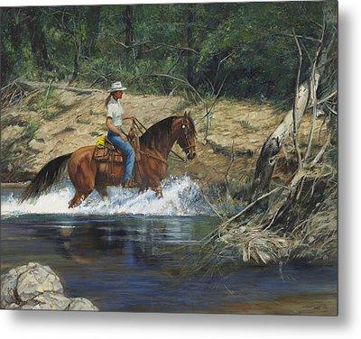 Girl Crossing Big Creek Metal Print by Don  Langeneckert