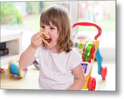 Girl Eating French Fries Metal Print