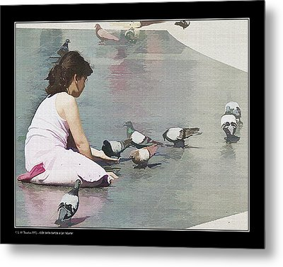 Metal Print featuring the photograph Girl Feeding Pigeons by Pedro L Gili