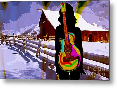 Girl Guitar And Ranch Metal Print by Marvin Blaine