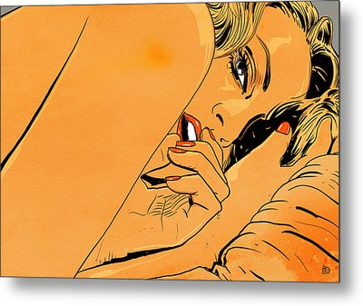 Girl In Bed 1 Metal Print