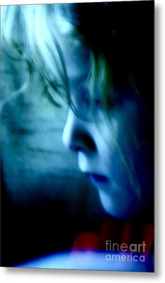 Girl In Blue Metal Print