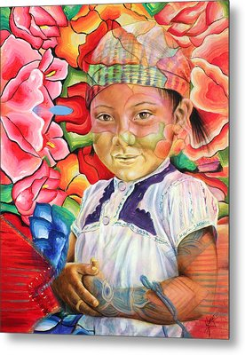Girl In Flowers Metal Print by Karina Llergo