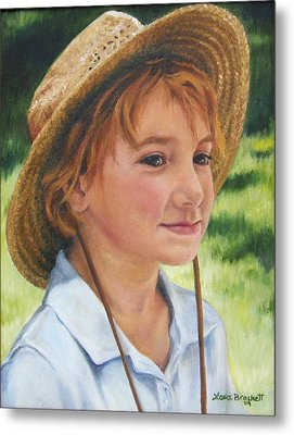 Metal Print featuring the painting Girl In Straw Hat by Lori Brackett