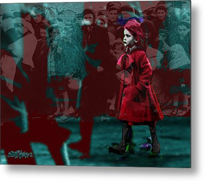 Girl In The Blood-stained Coat Metal Print by Seth Weaver