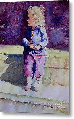 Girl In The Blue Jacket Metal Print by Janet Felts