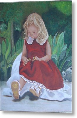 Metal Print featuring the painting Girl In The Garden by Sharon Schultz