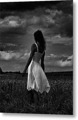 Girl In The Grain Field Metal Print