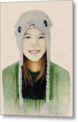 Girl In The Rabbit Cap Metal Print