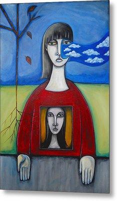 Girl In The Window Metal Print by Roy Guzman