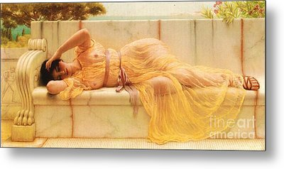 Girl In Yellow Drapery Metal Print by Pg Reproductions