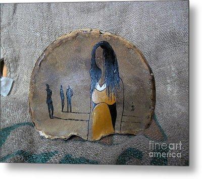 Girl In Yellow Metal Print by Ildiko Decsei