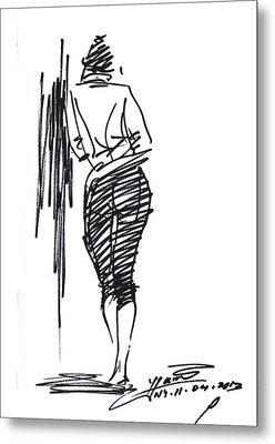 Girl Leaning Against Wall Metal Print