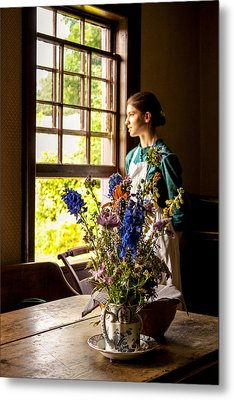 Girl Looking Through An Open Window  Metal Print