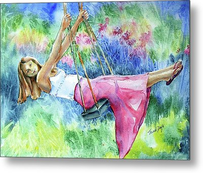 Girl On A Swing  Metal Print by Trudi Doyle