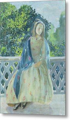 Girl On Balcony, 1900 Metal Print by Viktor Elpidiforovich Borisov-Musatov