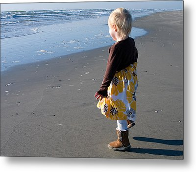 Metal Print featuring the photograph Girl On Beach by Greg Graham