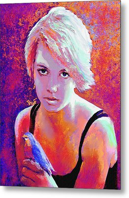 Metal Print featuring the digital art Girl On Fire by Jane Schnetlage