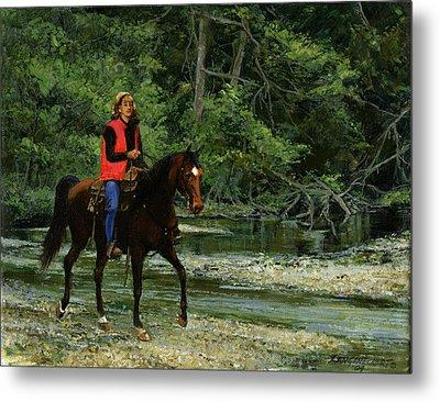 Girl On Horse Metal Print by Don  Langeneckert